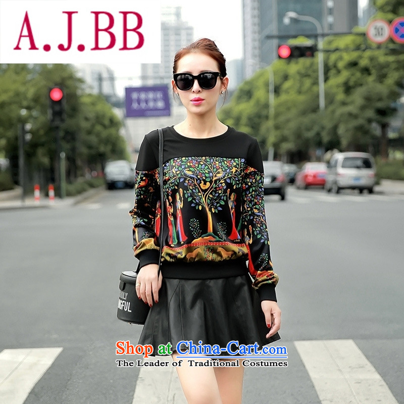 Only the 2015 autumn costumes vpro inside the new Korean female round-neck collar long-sleeved T-shirt stamp sweater black聽M,A.J.BB,,, shopping on the Internet