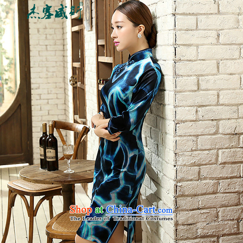 In the spring and autumn jie female elegant beauty really scouring pads Chinese collar manually. cuffs cheongsam dress female figure燲XL