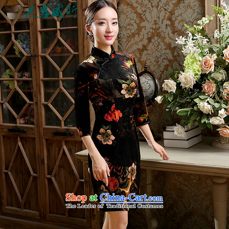 In the spring and autumn jie female Chinese classical Stretch Wool collar manually really allotted seven points cuff cheongsam dress female black聽L