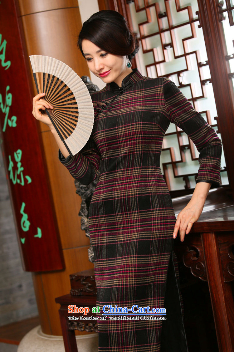 Dan smoke autumn and winter new women's long qipao retro hair? Grid 9 cuff improved stylish cheongsam dress Figure聽2XL color pictures, prices, brand platters! The elections are supplied in the national character of distribution, so action, buy now enjoy more preferential! As soon as possible.