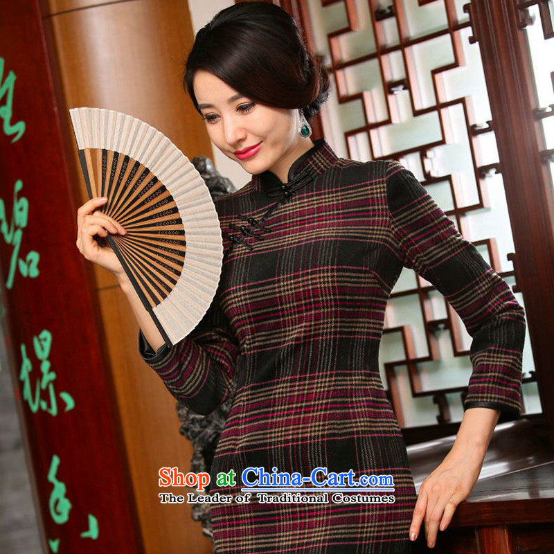 Dan smoke autumn and winter new women's long qipao retro hair? Grid 9 cuff improved stylish cheongsam dress Figure�L color