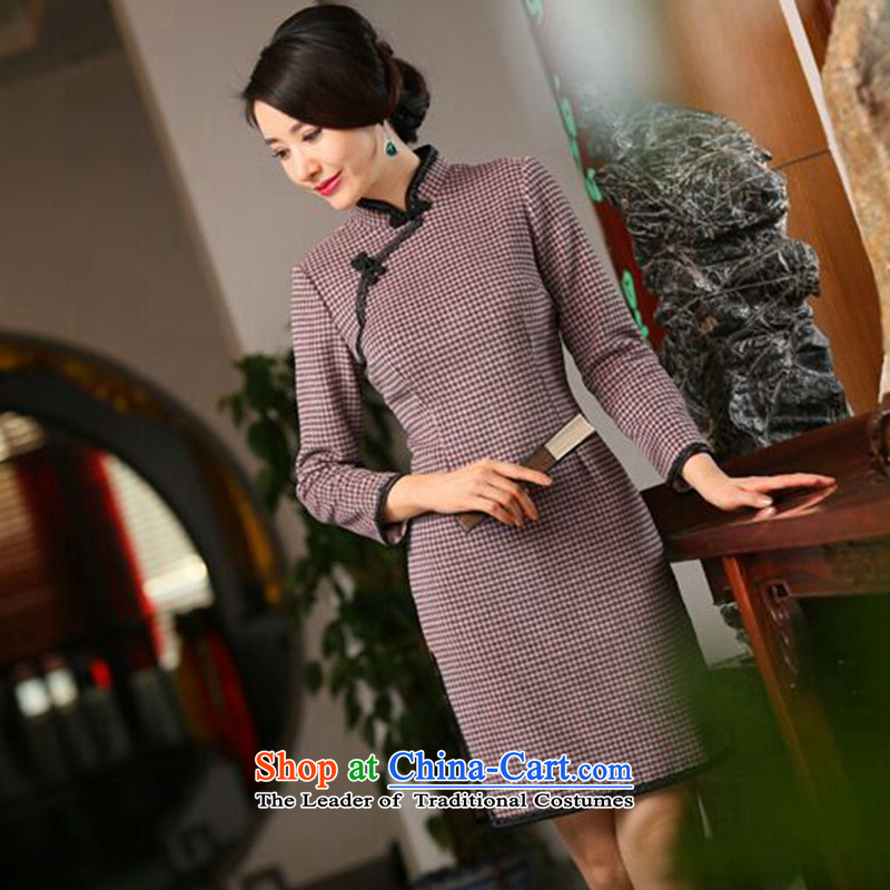 Dan?2015 autumn and winter smoke new long-sleeved blouses and improved retro latticed gross qipao? In long skirt figure color qipao?L