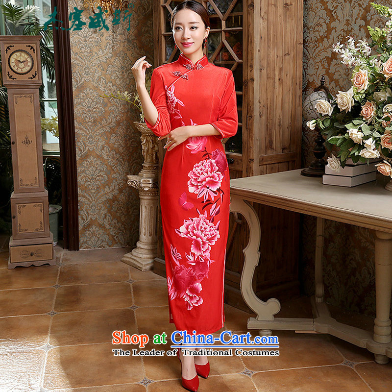 In the spring and autumn jie female Tang Dynasty Chinese cheongsam classical Mock-neck manually allotted seven points cuff bride elastic Kim scouring pads cheongsam dress female red?XL