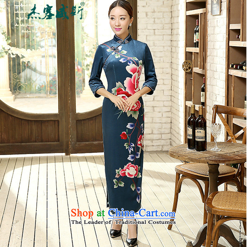 In the spring and autumn jie female Tang dynasty qipao positioning poster Stretch Wool collar manually Kim detained seven long-sleeved cheongsam dress female figure?XXXL