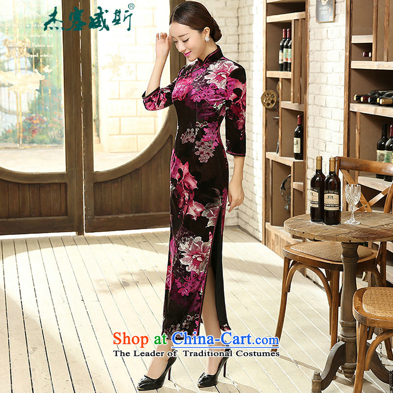 In the spring and autumn jie female Tang Dynasty 7 cuff qipao improved stylish collar manually detained Stretch Wool long qipao Kim dresses female�T0011 AUBERGINE�L