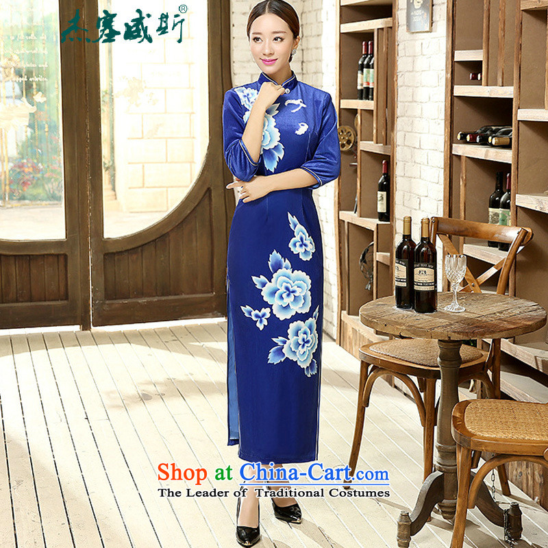 In the spring and autumn jie female Tang Dynasty Chinese cheongsam collar manually detained classical stretch of 7 gold velour long-sleeved cheongsam dress female blue聽XL