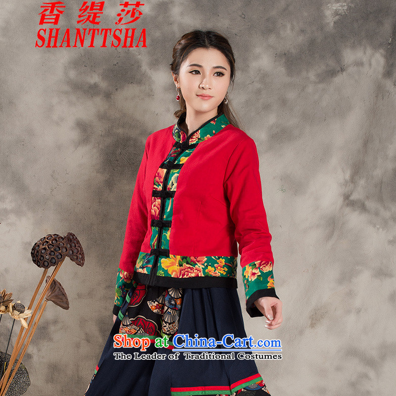 The Champs Elysees economy by 2015 the new nation Elizabeth wind female Chinese Antique jacket jacquard yarn-dyed fabric stitching China Wind Jacket RED燤
