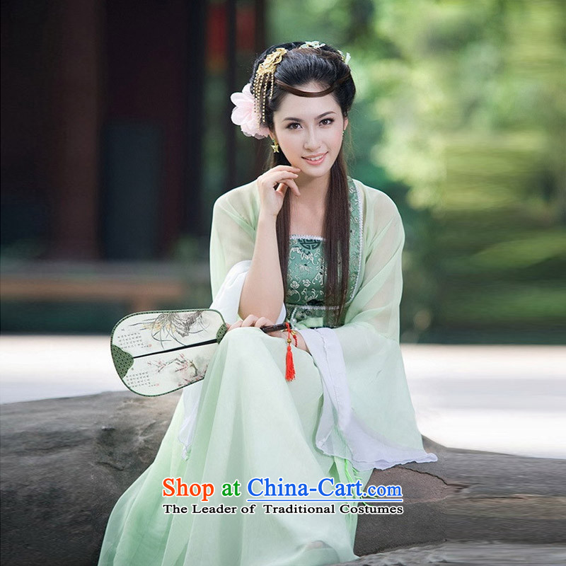 Time Syrian costume clothing fairies skirt women serving a seven fairy costume show Han-Tang dynasty women wearing the new Han-green small Qing Clothing green燣