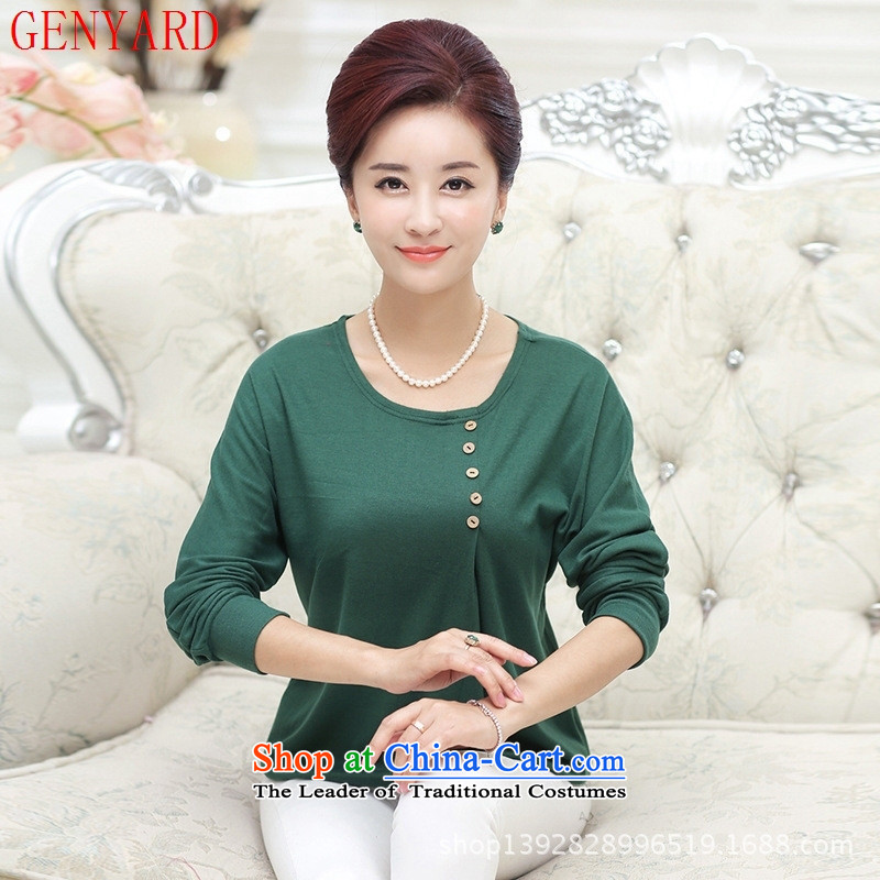 Increase in to GENYARD older fall inside the mother with round-neck collar long-sleeved T-shirt Knitted Shirt with middle-aged women wear shirts 3XL green