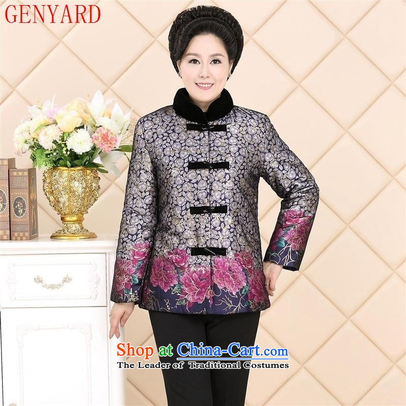 The elderly in the autumn and winter GENYARD mother mother Tang add lint-free cotton clothing warm large middle-aged women's Mock-neck cotton coat jacket blue�L