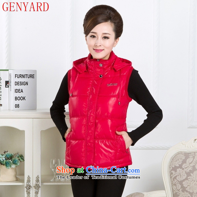 The elderly in the autumn and winter GENYARD2015 larger women's sleeveless cap feather cotton ma focused MOM pack pure color Sau San vest BOURDEAUX?3XL