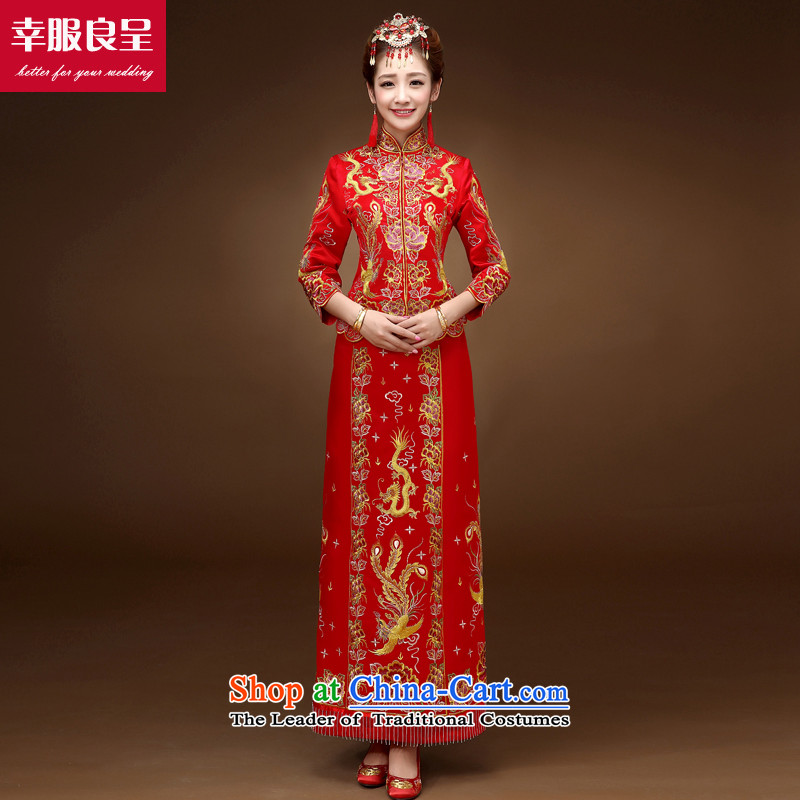 The privilege of serving the dragon-leung also use su Wo Service skirts of autumn and winter red Chinese wedding dress bride wedding dresses qipao serving drink + model with 68 Head Ornaments�L