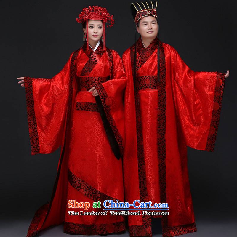 Time the爊ew 2015 Syria Han to Tang marriage solemnisation Chinese wedding dress Han-red-hi-bride and groom toasting champagne men and women of the Ancient Costume will serve photography marriage solemnisation floor kit for men and women are suitable for