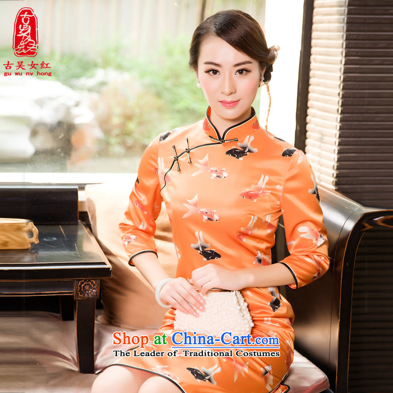 The Wu female red high-end Fall/Winter Collections of Silk Cheongsam 2015 new daily in the Sau San Long Seven-sleeved cheongsam dress Orange?S