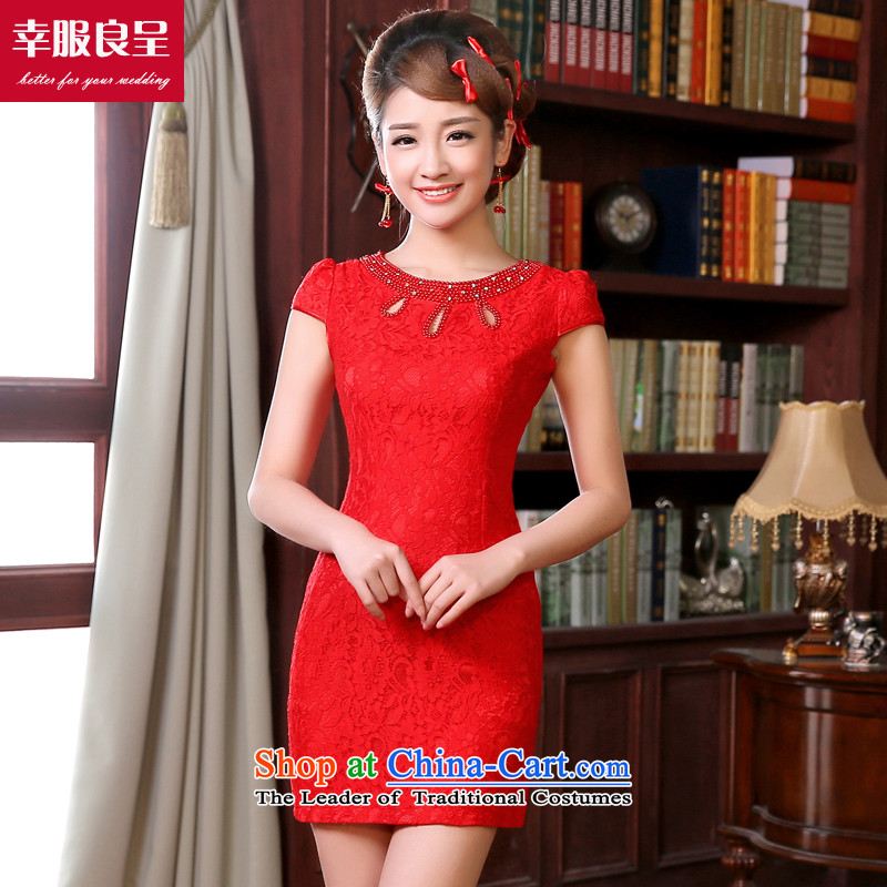 The privilege of serving-leung bows services 2015 new red qipao short) Bride wedding dress retro improved stylish short-sleeved short of?M-40