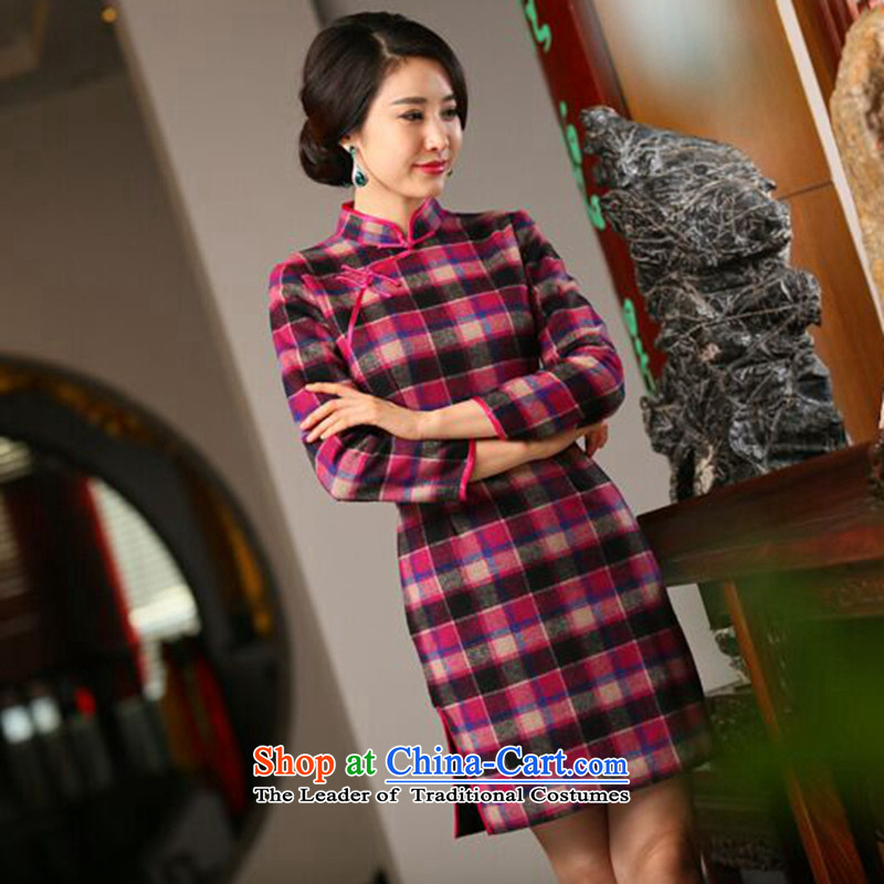Mosaic of autumn and winter new wool? in long-sleeved QIPAO_ Improved Stylish retro grid qipao cheongsam dress figure color?L