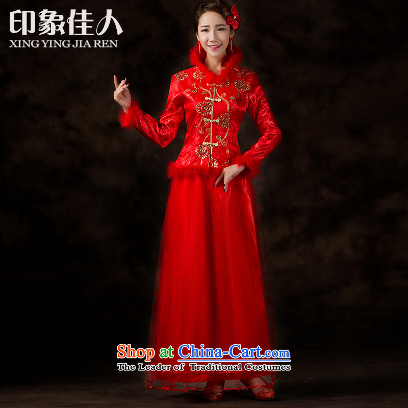 2015 Autumn and Winter Love impression of new long-sleeved red hair for a drink service bridal crowsfoot long the lift mast cheongsam dress�XXL