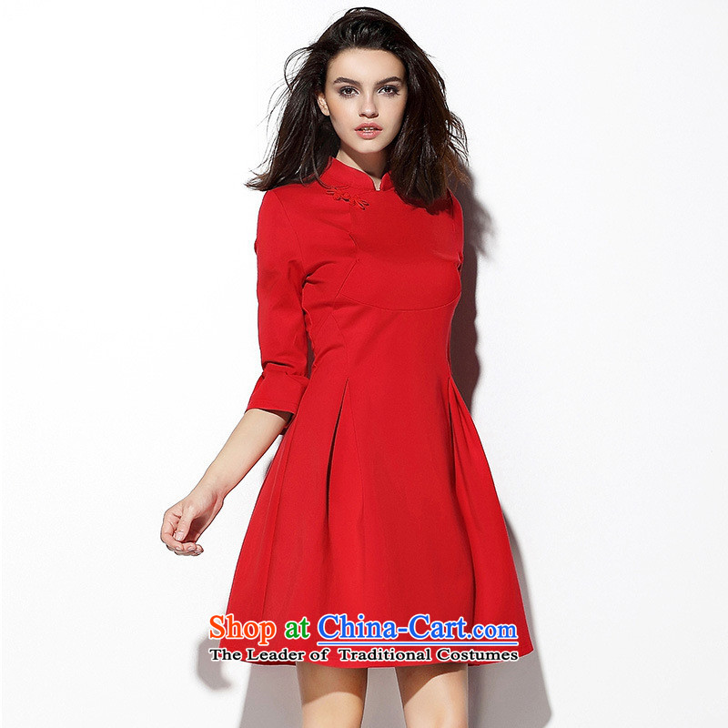 The main new_ Autumn 2015 qipao disc detained stitching like Susy Nagle bon bon princess collar Sau San dresses red dress bows services red燲L