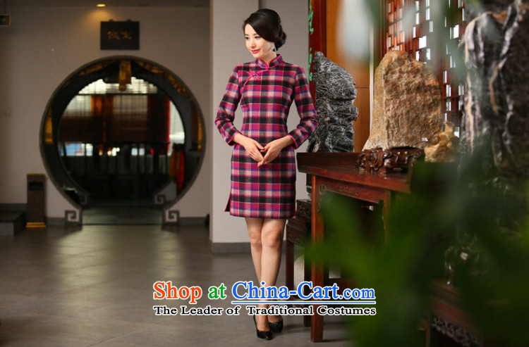 Dan smoke of autumn and winter new wool? in long-sleeved QIPAO) Improved Stylish retro grid qipao cheongsam dress figure color聽pictures, prices, 3XL brand platters! The elections are supplied in the national character of distribution, so action, buy now enjoy more preferential! As soon as possible.