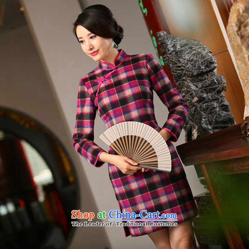 Dan smoke of autumn and winter new wool? in long-sleeved QIPAO_ Improved Stylish retro grid qipao cheongsam dress聽3XL Figure Color