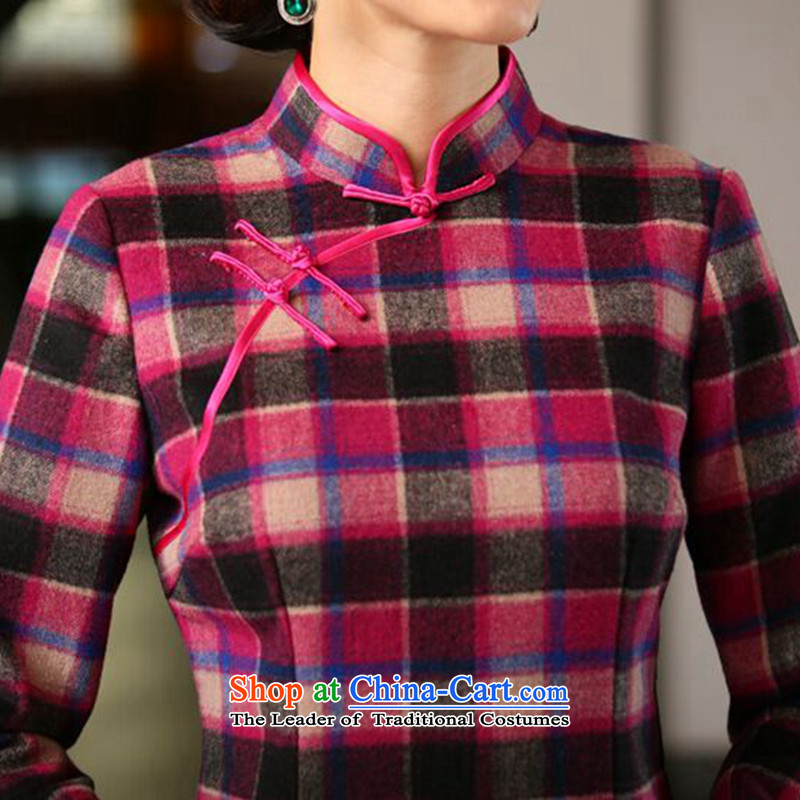 Dan smoke of autumn and winter new wool? in long-sleeved QIPAO) Improved Stylish retro grid qipao cheongsam dress Figure Color聽3XL, Dan Smoke , , , shopping on the Internet
