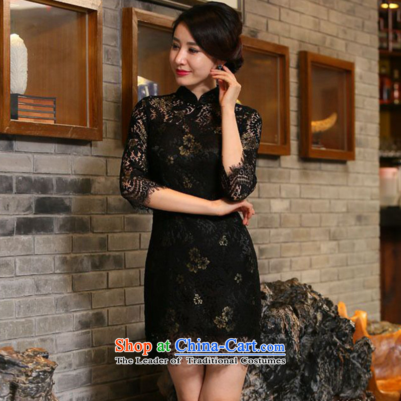 2015 autumn flowers Figure Boxed new women's seven-sleeved lace qipao and sexy improved stylish Sau San cheongsam dress Figure Color XL