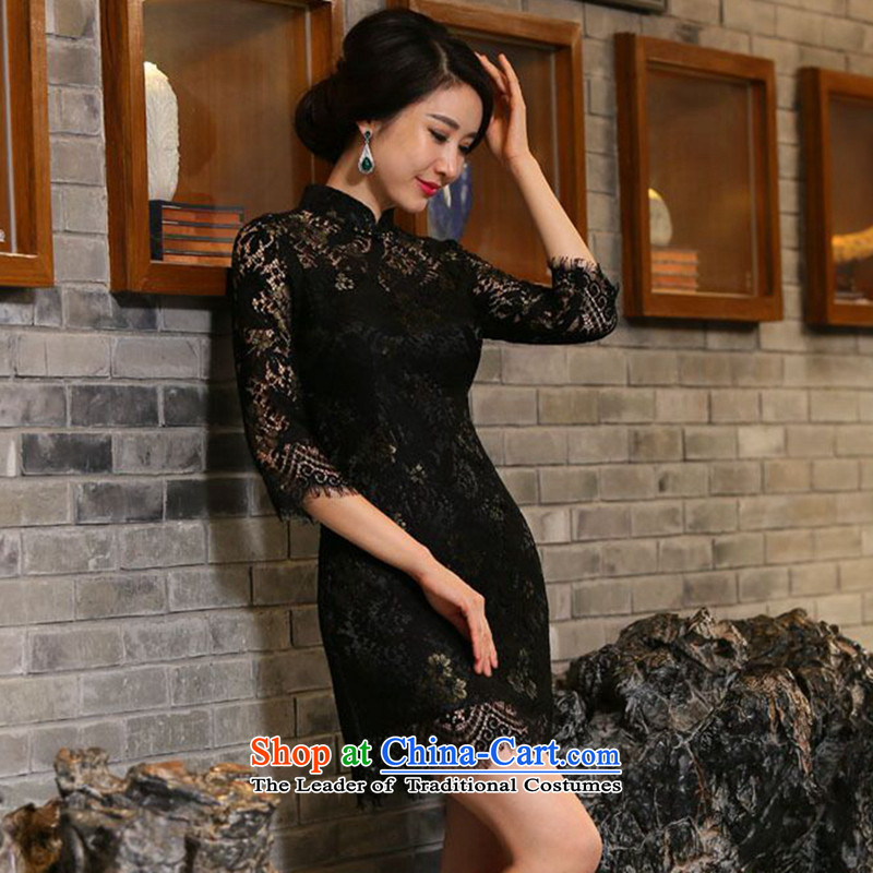 Dan?Chu leads for the new 2015 smoking for women 7 cuff lace qipao and sexy improved stylish Sau San cheongsam dress Figure Color?XL
