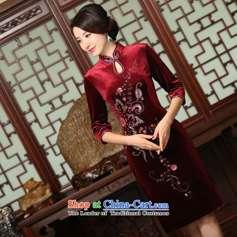 Floral autumn and winter female Chinese improved water droplets Mock-neck manually staple beads in seven cuff velvet long skirt figure color qipao?S