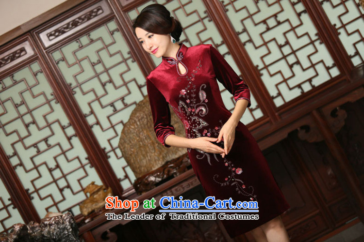 Dan smoke autumn and winter female Chinese improved water droplets Mock-neck manually staple beads in seven cuff velvet long skirt figure color qipao聽XL Photo, prices, brand platters! The elections are supplied in the national character of distribution, so action, buy now enjoy more preferential! As soon as possible.