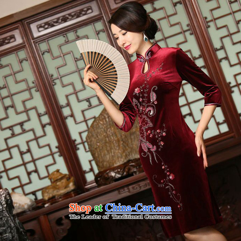 Dan smoke autumn and winter female Chinese improved water droplets Mock-neck manually staple beads in seven cuff velvet long skirt figure color qipao聽XL, Dan Smoke , , , shopping on the Internet