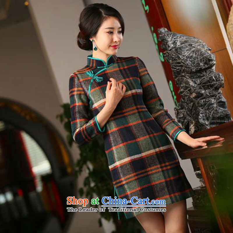 Dan smoke of autumn and winter new women's nine-sleeved qipao retro latticed gross grid style qipao? improved color as shown in figure�L skirt