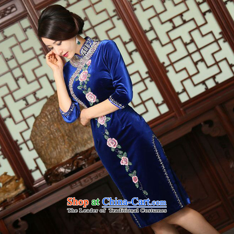 Dan smoke autumn and winter new women's hand down the Pearl River Delta to improve Chinese qipao scouring pads in embroidery long cheongsam dress figure color L