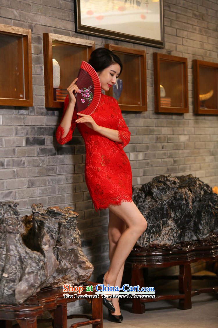 Dan fall smoke for women married to the lift mast qipao Chinese collar improved 7 cuff lace bows cheongsam dress figure color聽pictures, prices, XL brand platters! The elections are supplied in the national character of distribution, so action, buy now enjoy more preferential! As soon as possible.