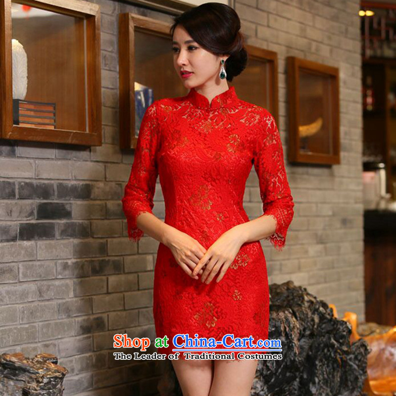 Dan fall smoke for women married to the lift mast qipao Chinese collar improved 7 cuff lace bows cheongsam dress Figure Color?XL