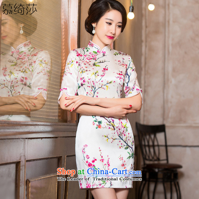 The leading edge of the cross-sa to 2015 retro heavyweight Silk Cheongsam fall inside improved cheongsam dress stylish herbs extract cheongsam dress HY652A new picture color XL