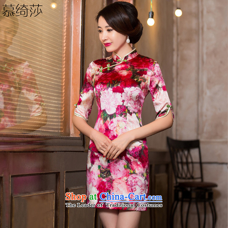 The fragrance of cross-sa heavyweight Silk Cheongsam with retro in autumn Ms. silk cheongsam dress cuff new improved cheongsam dress燞Y6051A爌icture color燣