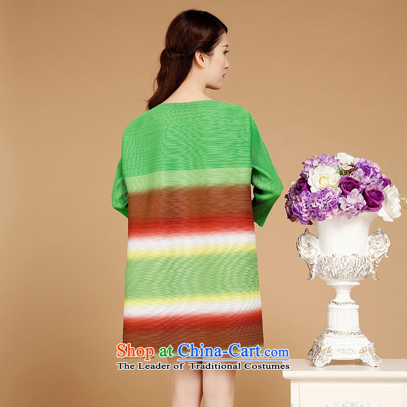 2015 Autumn and winter middle-aged ladies casual stylish gradient stripes dresses in Sau San long temperament round-neck collar 7 cuff skirt loose mother replacing autumn and winter female green are code