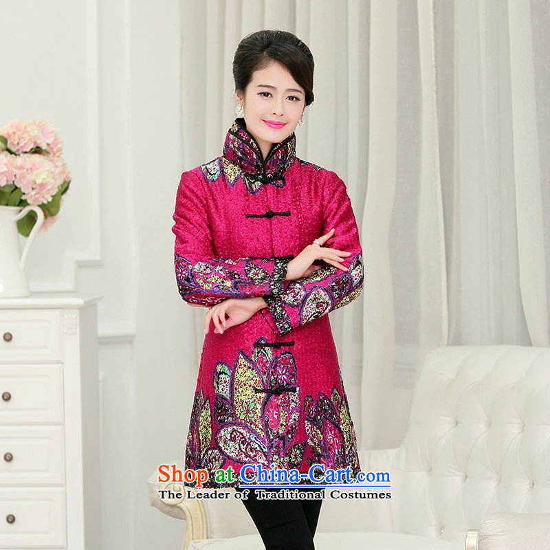 2015 Autumn and winter middle-aged ladies silk linen creases jacket coat collar in Sau San in older long Tang dynasty cotton coat retro fitted in red stamp mother?XL