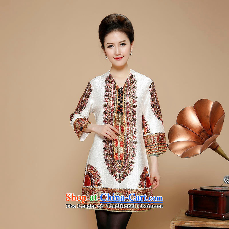 In 2015, Ms. autumn and winter long silk linen dresses in the folds of older ethnic Embroidery Stamp V-Neck 9 cuff skirts autumn and winter with beige?XXXXL Mom