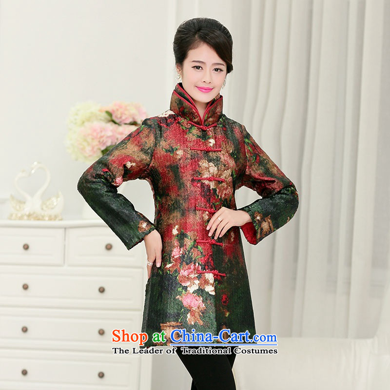 2015 Autumn and winter middle-aged ladies silk linen creases jacket coat collar in Sau San in older long Tang dynasty cotton coat of nostalgia for the Stamp Pack retro hair colors燲XXXL Mom
