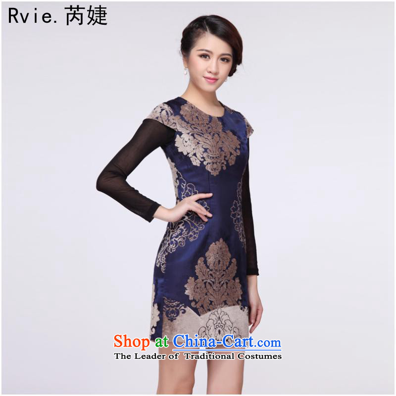 The new improved retro short of modern-day gross for Sau San cheongsam dress female improvement of nostalgia for the autumn and winter replacing Tang Gown skirt dark blue燬