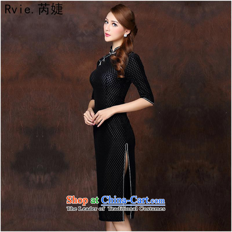 The 2014 autumn and winter new women's Stylish retro long) Improved elegance velvet cheongsam dress?QF141007??XXXL black