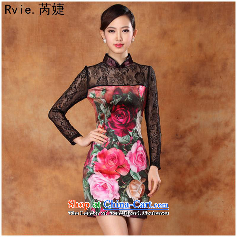 New autumn sexy lace scouring pads stamp and the relatively short time, improved long-sleeved cheongsam dress banquet figure燲XXL dress