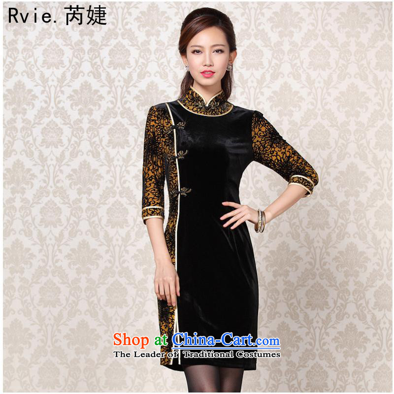 The 2014 autumn and winter new improved Stylish retro scouring pads in the stitching short-sleeved qipao picture color燬