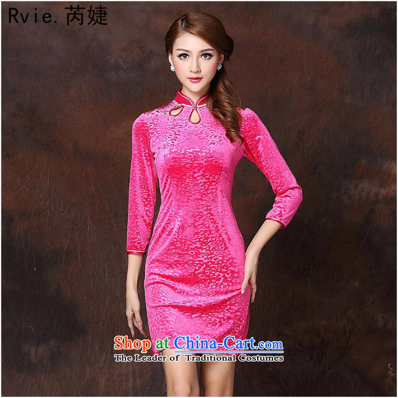 The 2014 autumn and winter new women's Stylish retro-improvement in cuff short qipao?QF141002 scouring pads?in the Red?M