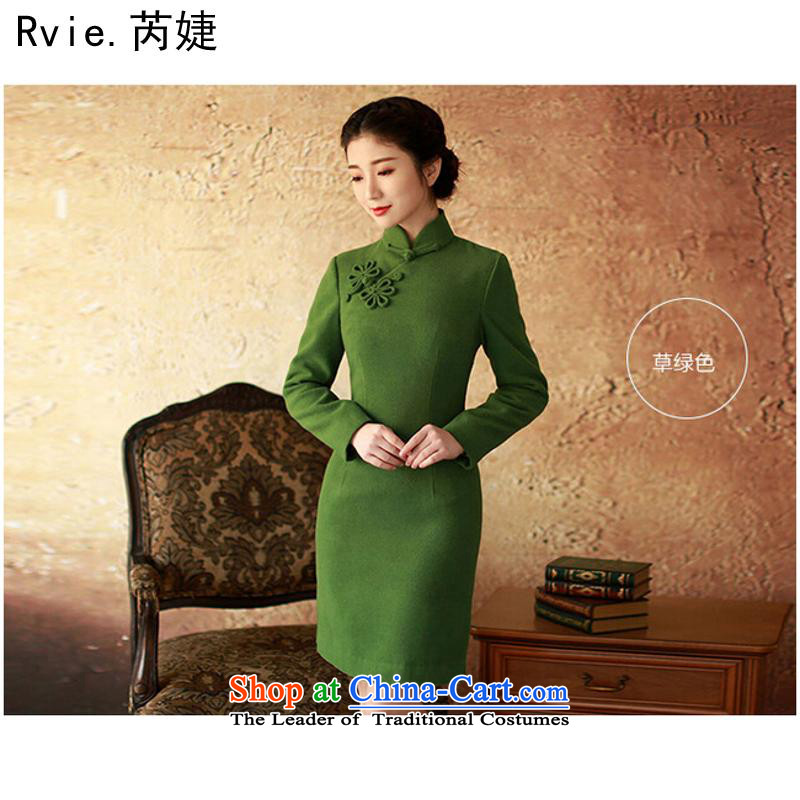 The new 2015 autumn and winter long-sleeved Stylish retro improved high-end-sided flannel short of qipao skirt green?L