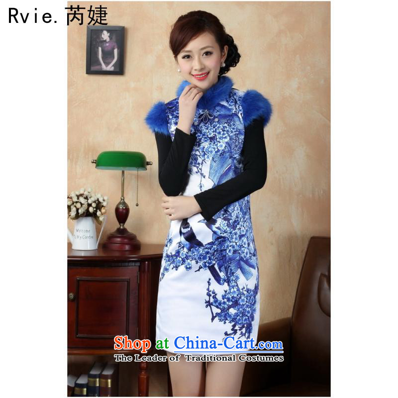 2015 Autumn and winter new cheongsam dress porcelain stylish improved bridesmaid cheongsam dress Phillips-head blue 001 M