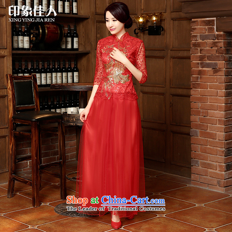 Starring impression new 2015 Tang dynasty bride wedding dress long-sleeved long red lace cheongsam dress bows services fall�L