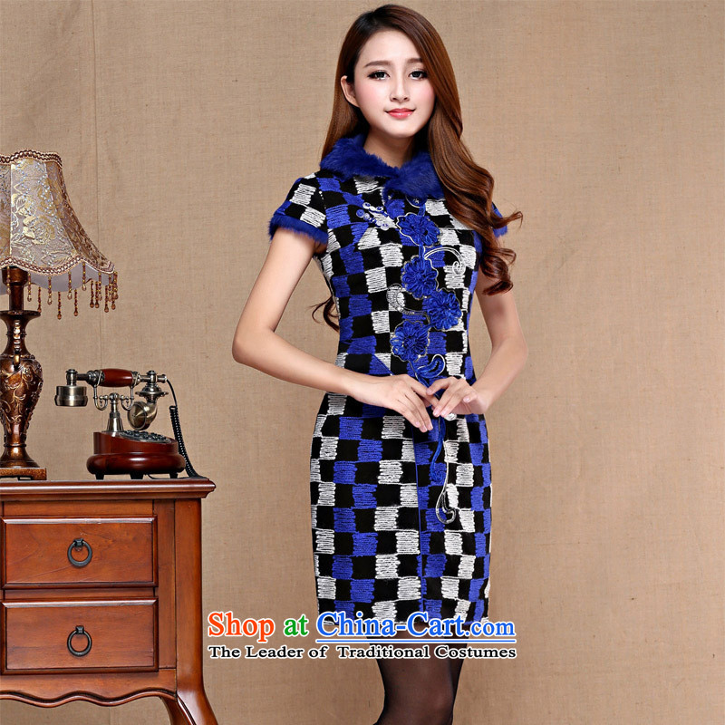 The autumn and winter new improved Couture fashion Chinese Dress Tang dynasty dresses qipao Black燲L