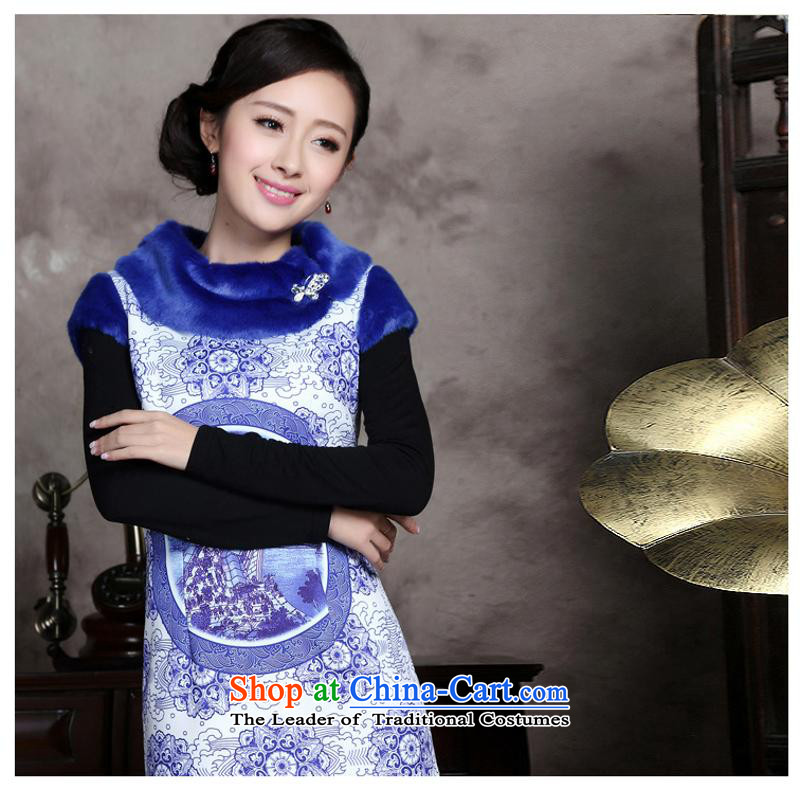 The autumn and winter new women's porcelain stamp improved fashion show Wo Service Chinese Tang dynasty for gross dresses qipao porcelain燤